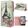 Nokia Lumia 520, Lumia 525 Wallet Leather Case - Eiffel Tower