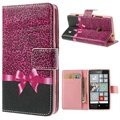 Nokia Lumia 520, Lumia 525 Wallet Leather Case - Pink Leopard