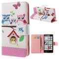 Nokia Lumia 520, Lumia 525 Wallet Leather Case - Owl Family