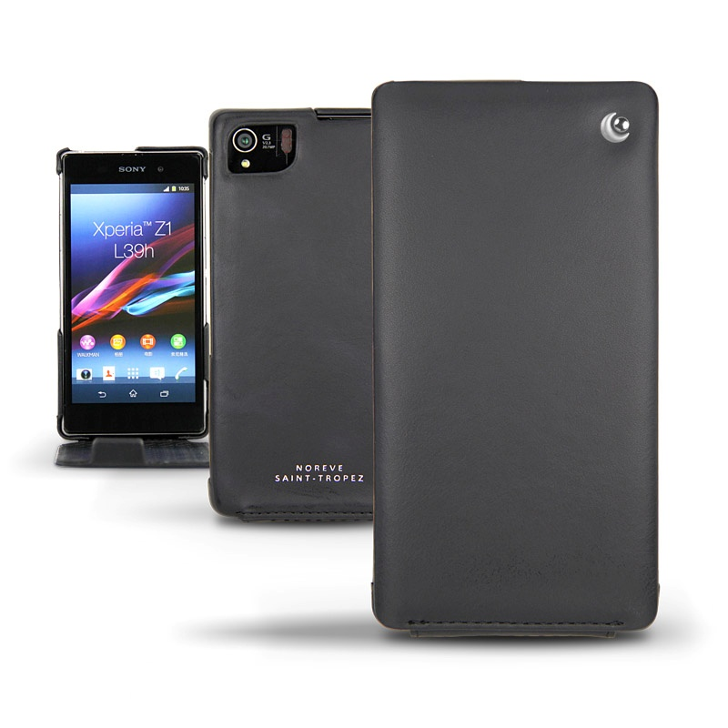 Sony Xperia Z1 Noreve Tradition Flip Leather Case - BlackXperia Z1 Protective Case